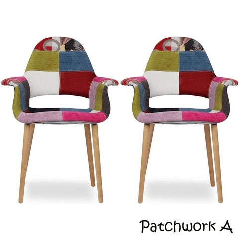 2xhome Set of 2 Patchwork Patterned Fabric Upholstered Vintage Accent Chairs High Back With Arms Living Dining Room Desk Bedroom