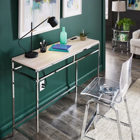Garble Chrome Counter Height Desk with Faux Marble Top and USB Charging Port by iNSPIRE Q Modern
