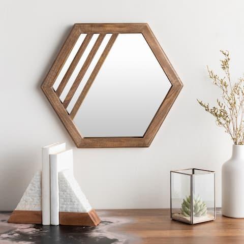 """Ndeye Modern Hexagonal Wood 16-inch Mirror - 16""""H x 16""""W"""