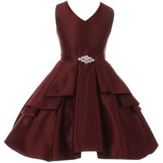 Flower Girl Dress Solid Dull Satin Overlay Burgundy GG 3571 (Option: 16)