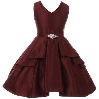 Flower Girl Dress Solid Dull Satin Overlay Burgundy GG 3571