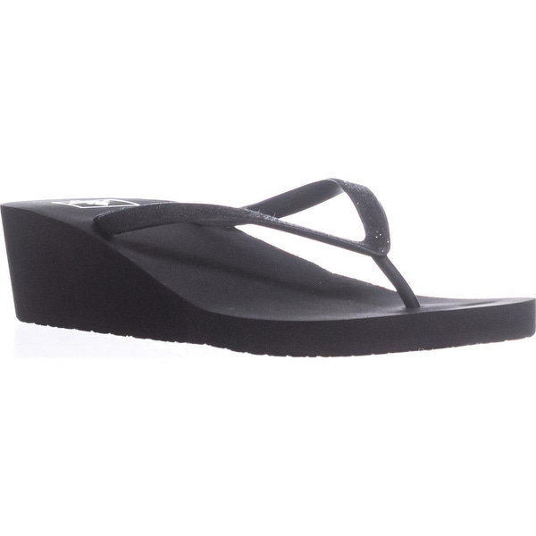ef4301fe42 Shop Reef Krystal Star Wedge Flip Flops, Black/Black - Free Shipping ...