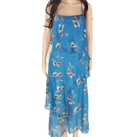 Lauren by Ralph Lauren Women's Dress Blue Size 14 Georgette Tiered