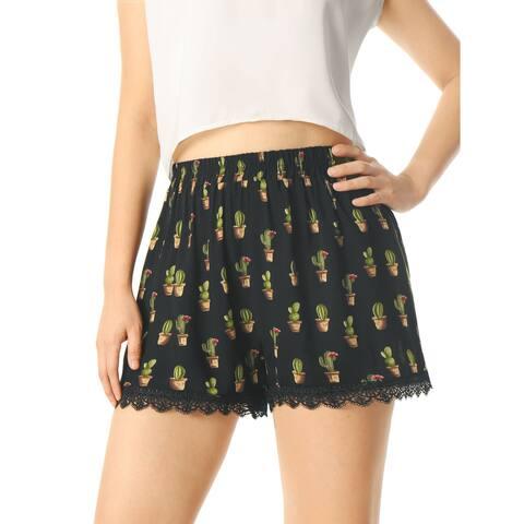 Unique Bargains Women's Allover Printed Lace Trim Elastic Waist Casual Shorts Black (Size M / 8) - Black-Cactus Print - 10