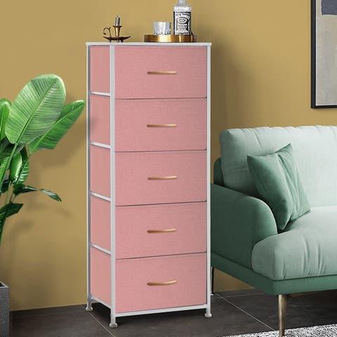 Contemporary 5-drawer Chest Vertical Storage Tower- Fabric Dresser