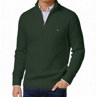 Tommy Hilfiger NEW Green Mens Size XL Quarter Zip Multi-Texture Sweater