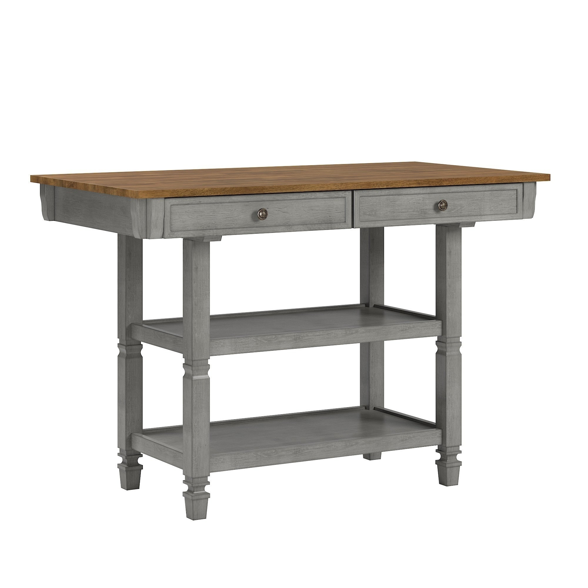 Elena Two Tone Antique Kitchen Island Buffet By Inspire Q Classic On Sale Overstock 20864881 Grey
