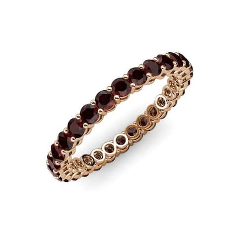 TriJewels Red Garnet Gallery Shared Prong Eternity Ring Stackable Gold