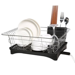 HK Antimicrobial Sink Dish Rack Dish Drainer Multi-Function Sturdy Stainless-Steel Dish Drying Rack w/ Black Drainboard - SIZE