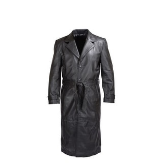 MENS BLACK LAMBSKIN CLASSIC LEATHER TRENCH COAT MLC-1