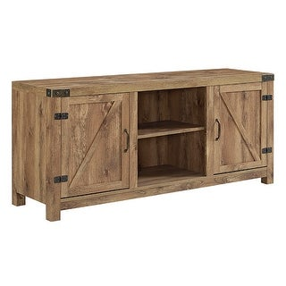 "Delacora WE-BD58BDSD  58"" Wide Farmhouse TV Stand with Barn Doors"