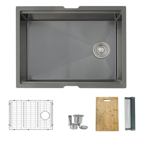 25 L x 19 W-inch Undermount Single Bowl 16G Kitchen Sink Workstation with Accessories Included