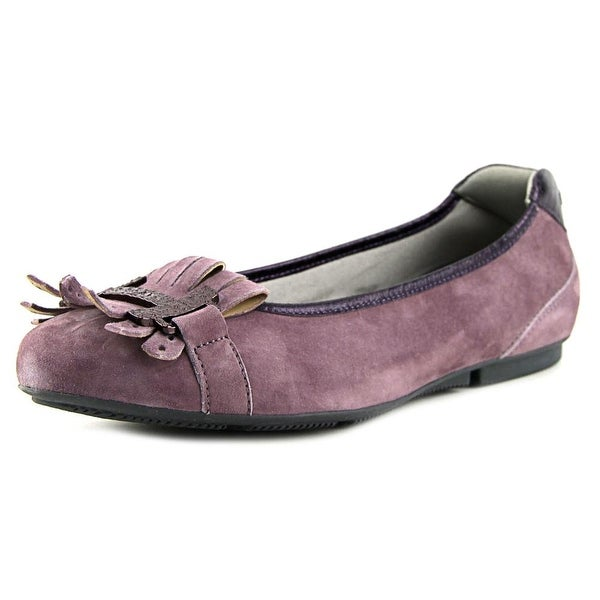 Hogan Wrap 144-Ballerina Frang+H Met. Vulc Women Round Toe Suede Purple Loafer