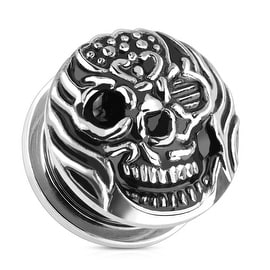 Fire Skull 316L Surgical Steel Screw Fit Plug (Sold Individually)