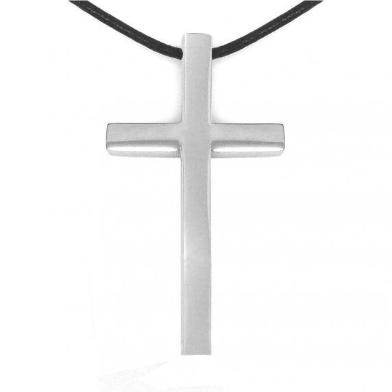 Large Simple Mens Stainless Steel Cross Necklace Black Leather Cord by Loralyn Designs