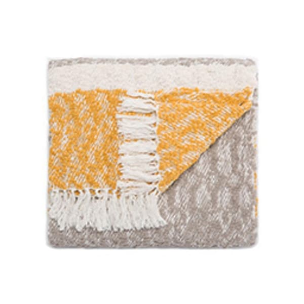 "Gray/Yellow Polyester and Cotton Throw - KIN01 50""x60"""