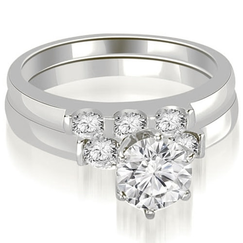 1.25 cttw. 14K White Gold Round Cut Diamond Engagement Bridal Set