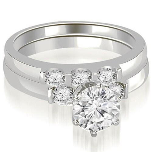 1.75 cttw. 14K White Gold Round Cut Diamond Engagement Bridal Set
