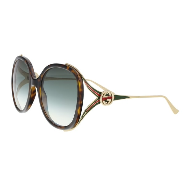 973056add40 Shop Gucci GG0226 S 003 Havana Gold Oversized Round Sunglasses - 56 ...