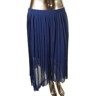 Kensie Womens Juniors Chiffon Asymmetrical Pleated Skirt - XL