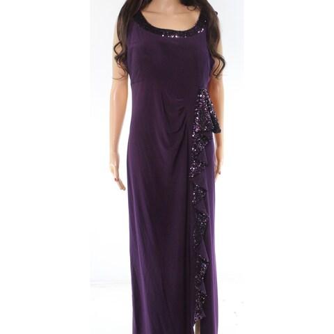 R&M Richards Purple Sequin Ruffled Women's Size 12 Sheath Dress