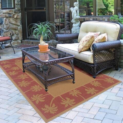 Laguna Palm Borders Indoor/ Outdoor Area Rug