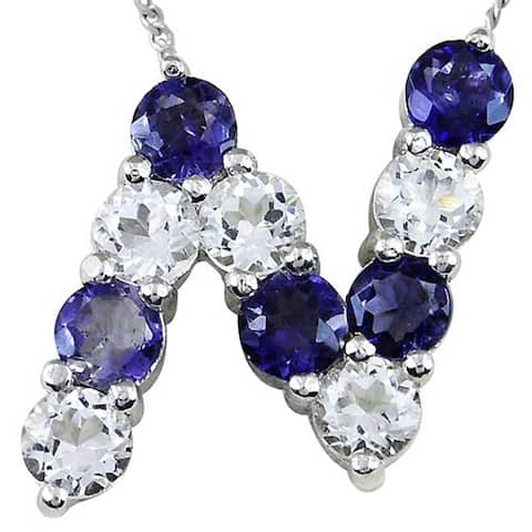 Iolite, White Topaz Sterling Silver Round N-Initial Shape Pendant by Orchid Jewelry