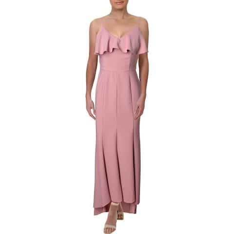 Aqua Women's Crepe Ruffled V-Neck Sleeveless High Low Gown - Mauve
