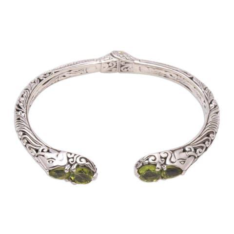 NOVICA Elephant's Treasure, Peridot cuff bracelet