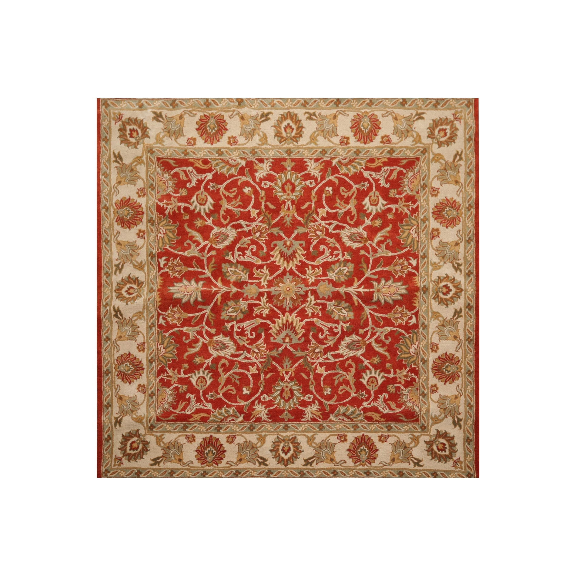Square Hand Tufted 100 Wool Square Traditional Oriental Area Rug Orange Beige Color 8 X 8 On Sale Overstock 32343748