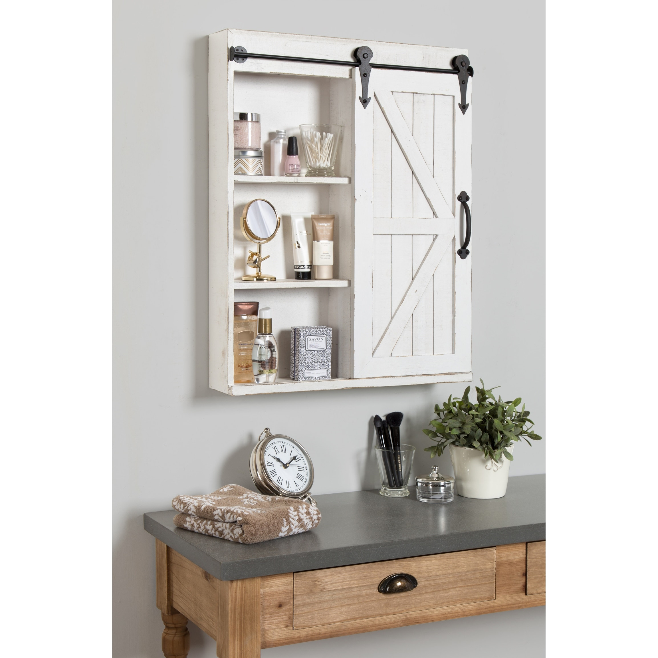 Cates Decorative Wood Wall Cabinet With Vanity Mirror And Barn Door Overstock 20987282