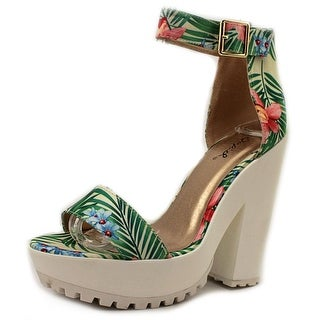 Qupid Therapy 16 Open Toe Canvas Platform Sandal