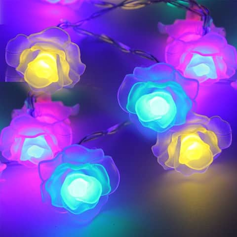 7.3ft 20 LED Christmas String Lights, Rose Battery Operated, 2 Modes