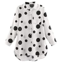 Helens Heart Women's Polka Dot Big Shirt - Black and White Button Up Tunic Top