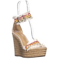 Schutz Munika Ankle Strap Espadrilles Wedge Sandals, Multi/Natural