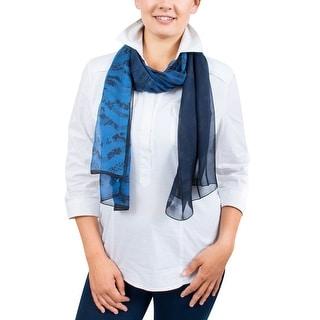 Ungaro UN7018 S8058 Floral Mesh Print Blue Silk Scarf - 71-27
