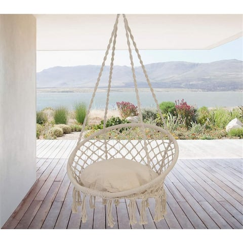 Hammock Chair Swing - Max 550 Lbs-Hanging Cotton Rope Hammock Swing Chair for Indoor and Outdoor Use (Beige)