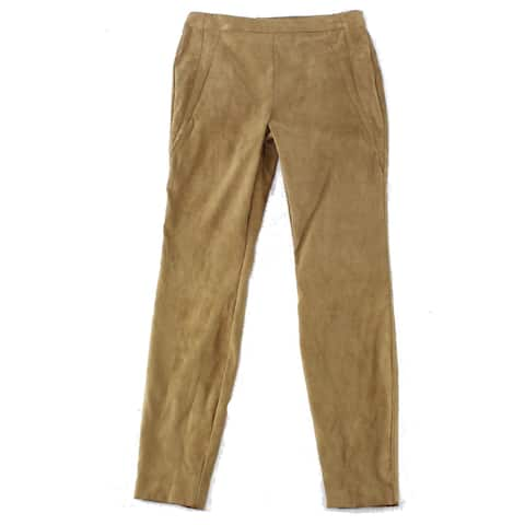 INC Womens Pants Brown Size 14 Faux-Suede Pull On Mid-Rise Stretch