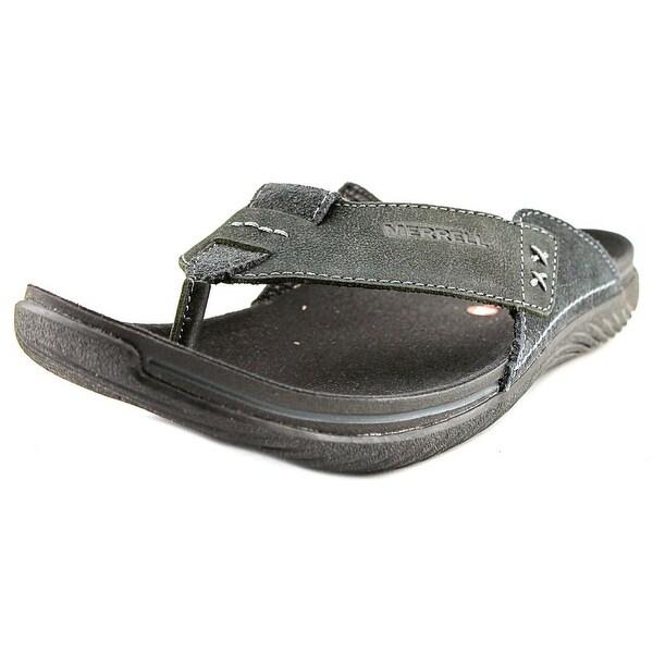 a97f93040286 Shop Merrell Bask Thong Men Open Toe Leather Black Thong Sandal ...