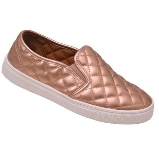Weeboo Adult Champagne Quilted Stitch Pattern Laceless Sneakers