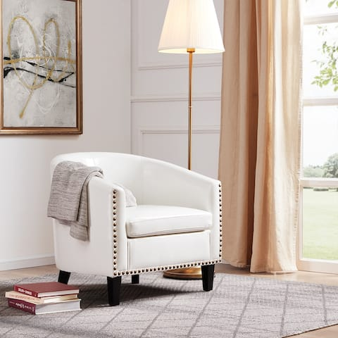 BELLEZE Nailhead Trim Upholstered Tub Barrel Chair Faux Leather, White - standard
