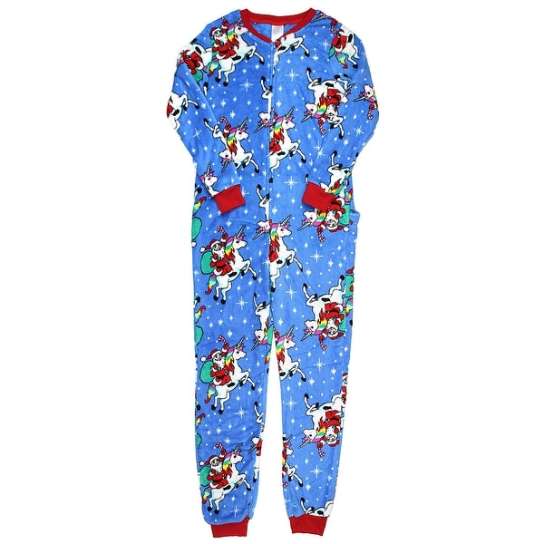 Secret Treasures Women's Christmas Holiday Santa Unicorn Dropseat Pajama Union Suit One Piece Sleepwear
