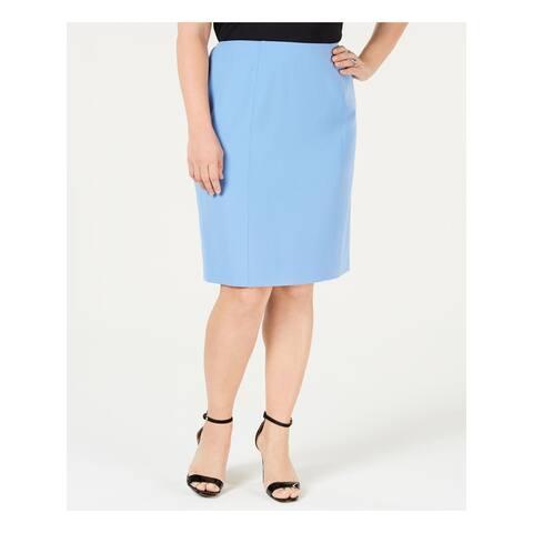 KASPER Womens Blue Below The Knee Pencil Wear To Work Skirt Plus Size: 14W