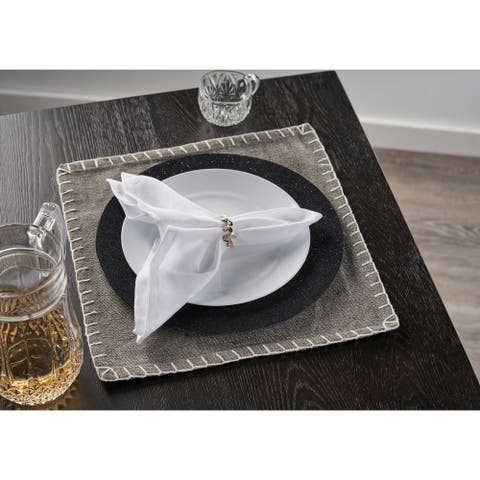 """Gray Embroidered Edge Square Place Mat - 1'3"""" x 1'3"""""""