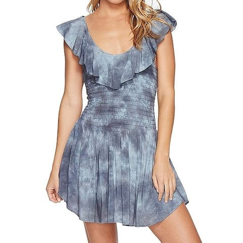 Blue Life Women's Luna Romper Gray Blue Large L Smocked Ruffle Popover