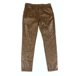 Lauren Ralph Lauren NEW Brown Womens Size 16 Coated Skinny Ankle Pants