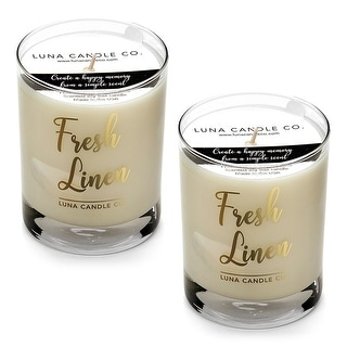 Fresh Linen Natural Soy Candle, Clean Slow Burn, Low Smoke (2 Pack)