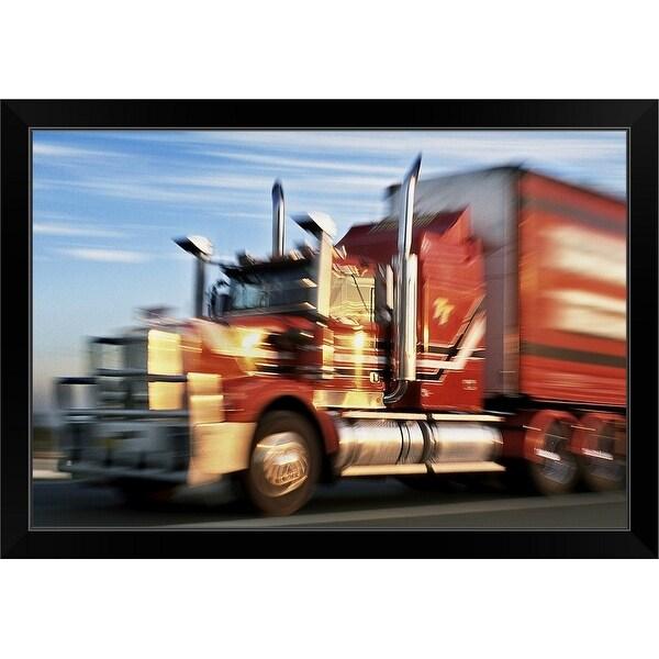 """""""Blurred big rig truck on highway"""" Black Framed Print"""