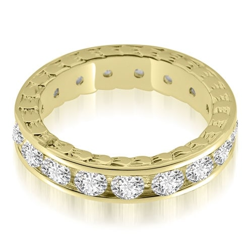 2.55 cttw. 14K Yellow Gold Antique Style Channel Set Round Diamond Eternity Ring