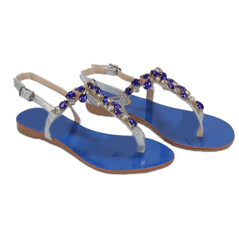 Ventutto Rio Turquoise Blue Crystal Cluster T-Strap Sandal